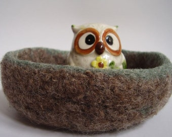 felted wool container treasure dish desk organizer chocolate and mint