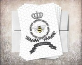Queen Bee Honeycomb Shabby Chic Personalized Note Cards Stationery - 4x6 flat linen note cards