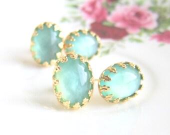 Turquoise Bridesmaid Earrings Wedding Bridal Jewelry Aqua Vintage Inspired Studs Mint Wedding Bridesmaid Gift