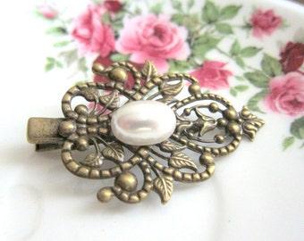 Vintage Style White Pearl Hair Clip Antique Filigree Hair Pin Wedding Bridal Head Piece Bridesmaids Gift Victorian Spanish Hair Accessories
