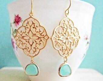 Turquoise Gold Earrings Bridal Jewelry For Bride Dangling Earrings Aqua Wedding Something Blue Mint Glass Drop Dangle Earring Bridesmaids C1