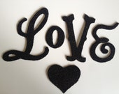 Valentines Day Love Banner Garland Black German Glass Glitter Handmade Decoration Decor - thegiftgardenshoppe