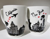 Long Distance Relationship Mug, Valentine's Day gift, His and Hers, Couples, Friendship, Personalized