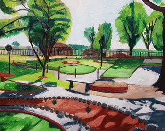 "Miniature Golf Course. Oil on Canvas. 16"" x 20"" Original painting. Trees. Summer."
