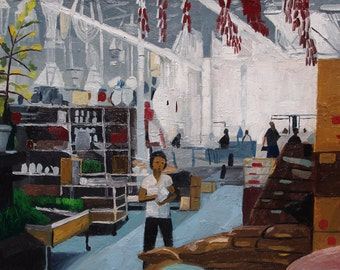 "Oil Painting. Asian Market in Kansas City. 18"" x 24"". Original. Missouri. Interior."