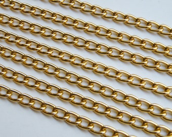 5 Feet Gold finish aluminum twisted cable chain 8x5mm links 2319CH