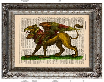 Gryphon Hand Colored on Vintage Upcycled Dictionary Art Print Book Art Print Recycled Mythical Monster