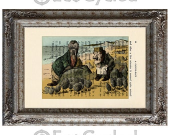 Walrus and the Carpenter from Alice in Wonderland Hand Painted on Vintage Upcycled Dictionary Art Print Book Art Print book lover gift