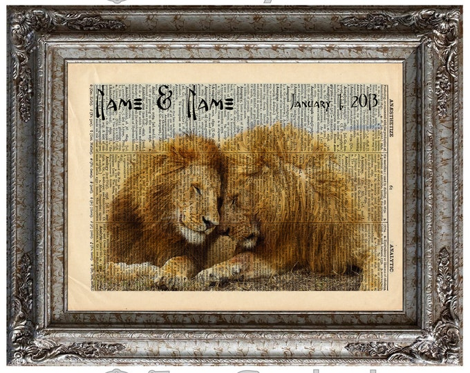 2 Male Lions In Love with Names & Date on Vintage Upcycled Dictionary Art Print Book Art Anniversary Wedding Customized Gay LGBT