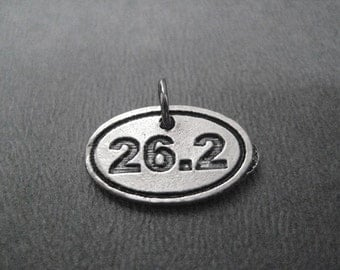 26.2 Oval Pewter CHARM - Add ONE (1) 26.2 Charm to your Necklace or Wrap Bracelet - Pewter 26.2 Marathon Charm Only