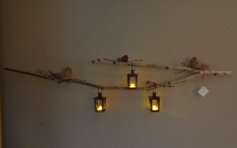 #C4C407 Hanging Lantern Birch Branch With Birds Decor By BabyNell  5331 décorations de noel avec bouleau 1500x935 px @ aertt.com