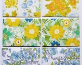 Yellow, blue, orange and aqua floral notecards Set of 6 - notecards, envelopes and envelope seals