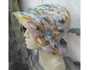 Felt Hat, Hemo Felt Hat,Felt Merino Wool Hat,Felt Woman Hat,Beige Hat,Felt String Hat,Felt Lady Fashion Hat,Handmade,OOAK