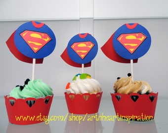 Super Hero Cupcake Wrappers & Toppers