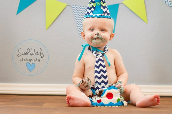 Items similar to boy cake smash outfit navy blue and turquoise navy chevron and teal diaper ...