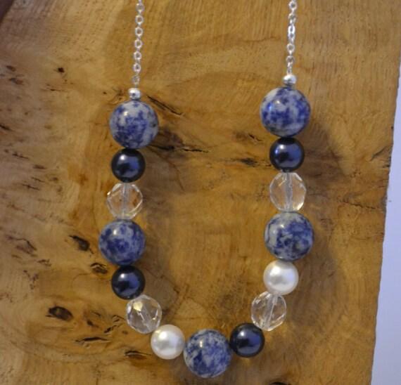 Blue Sodalite and White Swarovski Necklace - Gemstone - Cancer Charity