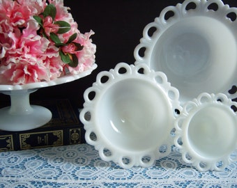 "Lace Edge Milk Glass Compotes - Lace Edge Milk Glass Bowls - Anchor Hocking ""Old Colony"" Lace Edge Milk Glass Bowls - Wedding Milk Glass"