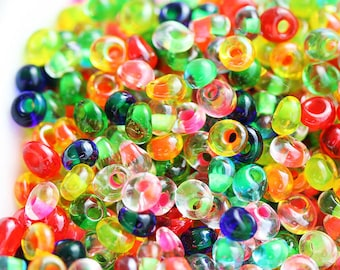 Bright Seed beads, TOHO Magatama, size 3/0, Color Lined  Mix, N BM61, fringe, teardrop glass beads, neon - 10g - S091