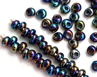 Dark Blue Fringe Seed beads, TOHO Magatama, size 3/0, Metallic Rainbow Iris, N 86, teardrop glass beads - 10g - S100