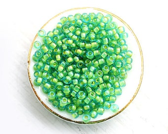 Green Seed beads, Toho size 11/0, Inside color Aqua - Yellow Lined, N 307, rocailles, glass beads - 10g - S170