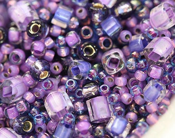 Purple Beads Mix, TOHO Seeds - Lilac, Amethyst, violet mix - N 3207, rocailles, glass beads - 10g - S264