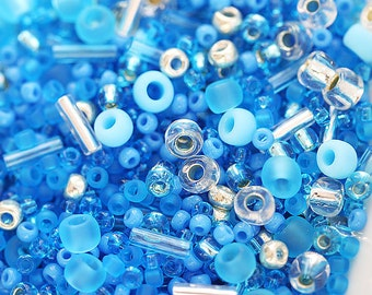Blue Seed Beads Mix, TOHO beads - Blue Silver - N 3223, rocailles, japanese glass beads - 10g - S271
