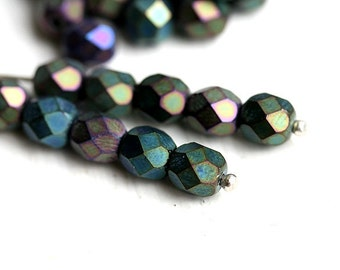 6mm glass beads - Matte Iris Green - czech beads, round faceted spacers - 30Pc - 0952
