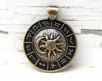 Zodiac pendant bead, Sun and Moon, Antique Brass Horoscope pendant, Astrology, Greek metal ...