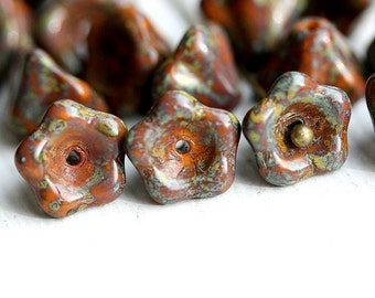 Rustic orange flower beads, picasso Czech beads, glass bell -  6x8mm - 20Pc - 0417