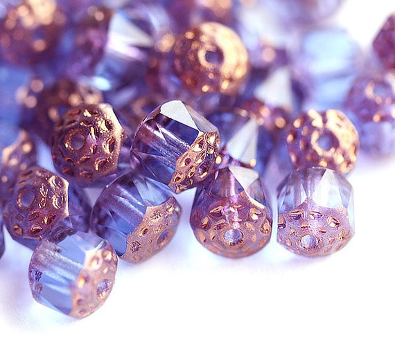 Blue violet Cathedral beads, czech glass, golden ends, round, fire polished - 8mm - 15Pc - 2263