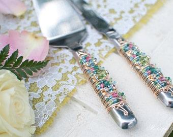 Pastel pink, blue, green SWARKOVSKI Beaded Wedding Cake Serving Set