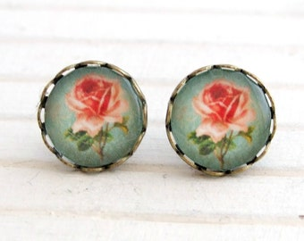 Shabby Chic Rose Earrings .. earrings, vintage style, pink blue rose, gifts for her, post earrings, cottage chic earrings