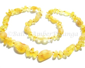 Baltic Amber Necklace, Raw Unpolished Lemon Color. For Adults