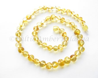 Baltic Amber Necklace Lemon Color Rounded Beads. For Adults