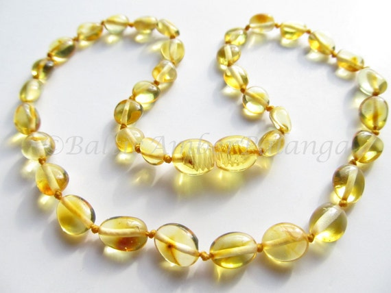 Baltic Amber Baby Teething Necklace Olive Form Lemon Color Beads