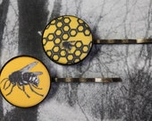 SALE Fabric Button Honey Bee Bobby Pin Set of 2