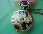Small antique bronze painted Ceramics lotus flowers and birds Round Pocket Watch Locket Necklaces with Chains