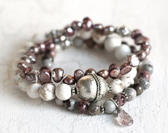 Beaded Bracelet Set with White Turquoise, Jasper and Pearl Gemstone Bracelets