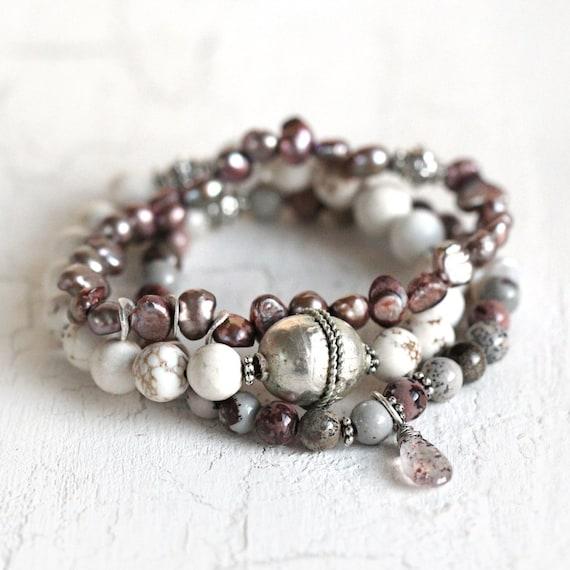 Stacking Bracelet Set - Rustic Beaded Bracelets
