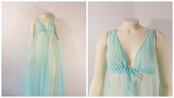 "Vintage Nightgown | 50s 60s Nightgown| Sheer Chiffon Lace Nightgown| 284"" Grand Sweep