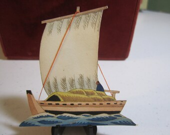 1920's unused die cut place card Japanese sail boat with real string accents