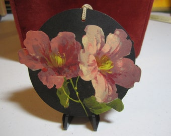 Gorgeous 1920's unused die cut Chas. S. Clark dark pink flowers on bridge tally