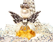 November Topaz Birthday Guardian Angel Necklace with Crystals