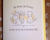Pet Sympathy Card - Pet Condolence Card - Dog Sympathy card, Cat Sympathy card - Letterpress