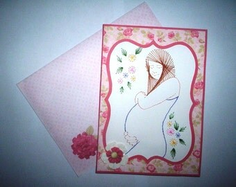 Stitched mother to be card with matching envelope