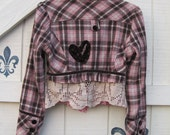 Plaid wool jacket XS-S rustic jacket wool plaid, cropped plaid tailored, brown pink wool plaid velvet trimmed