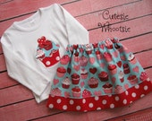 Valentine's Day Heart Cupcake Aqua and Red Applique Shirt and Twirl Skirt Set 18 2 3 4 5 6 8
