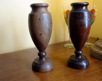 Urn-Style Unusual Walnut Lamp or Vase