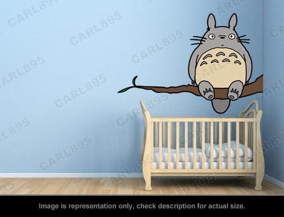 totoro inspired totoro tree wall art applique sticker by carl895