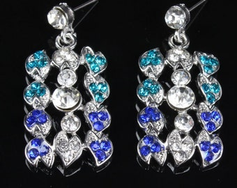 AUSTRIAN CRYSTAL Earrings Retro Hollywood Bejewelled Costume Classic Brilliant Sea Green Blue Clear CZ Stones